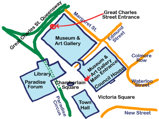 Map showing Great Charles Street entrance to Birmingham Museum and Art Gallery.