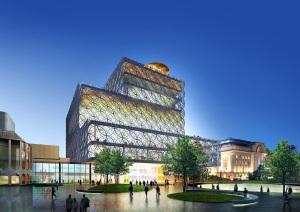 Library of Birmingham front in evening light - Artist's Impression
