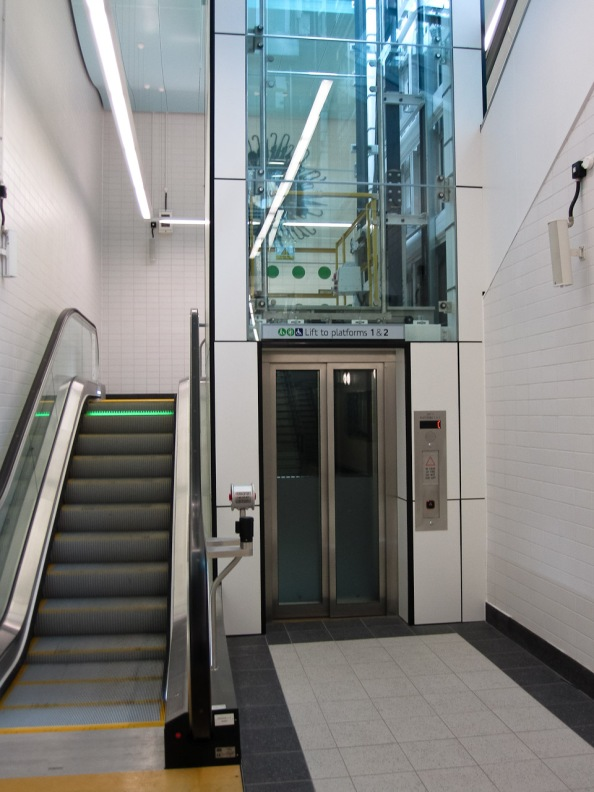 Escalator and lift to platform level