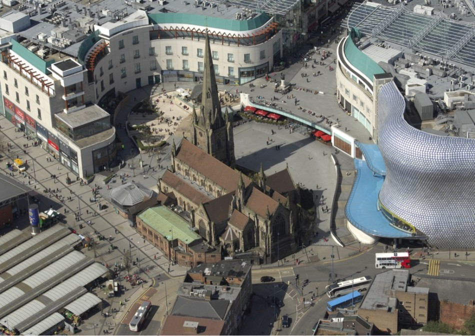 Photo of St Martins in Bull Ring from WMP Helicopter