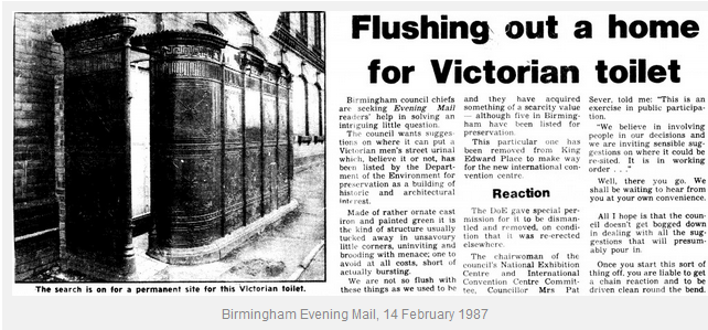 Old city centre urinal featured in Evening Mail 1997 - thanks to Andy Mabbett for picture