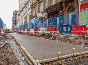 Breaking out of concrete for one of the tracks in Corporation Street.