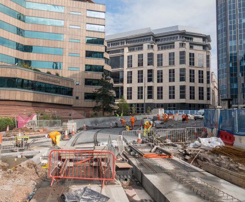 Looking back to Colmore Row from No 1 Snow Hill.