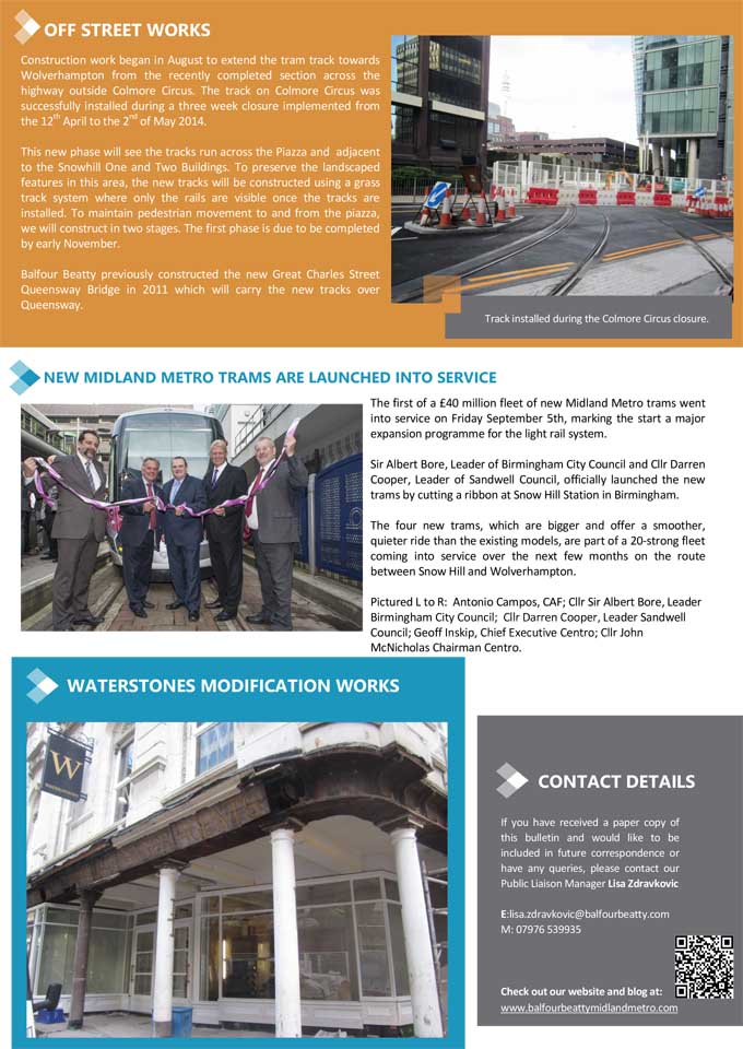Metro Balfour Beatty Summer bulletin 2014-2