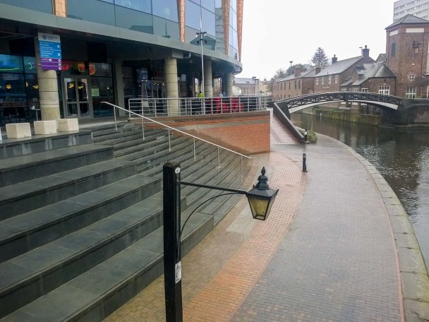 View east over the steps to the start of the Birmingham & Fazeley canal.
