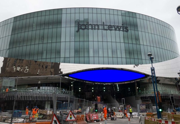 "John Lewis main entrance with its ""eye"" for advertisements"