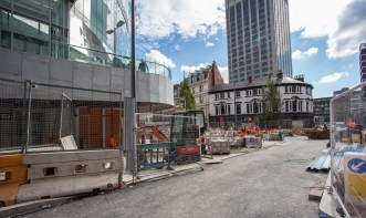 Approaching Station Street from Hill Street with the pedestrian ramp to John Lewis entrance on the left shows the start of fairly substantial road and building works.