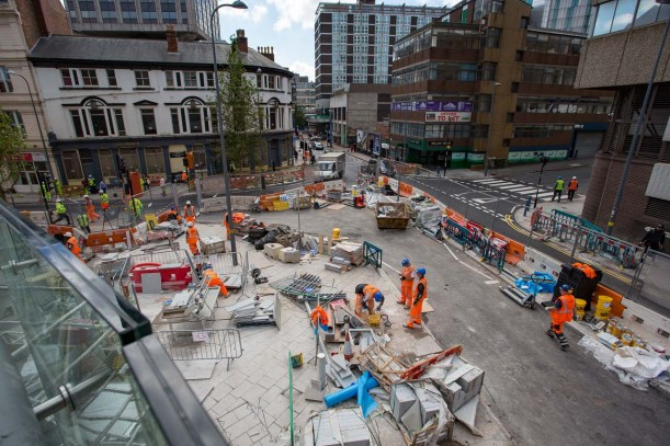 Looking down from the pedestrian ramp to the junction of Hill Street and Station Street.