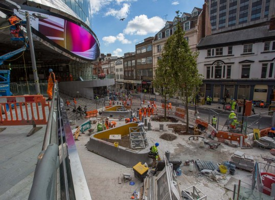 Looking to the east from the ramp shows some substantial works outside the John Lewis entrance.