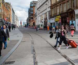 View north from New Street along Corporation Street shows largely completed track and absence of roadworks.