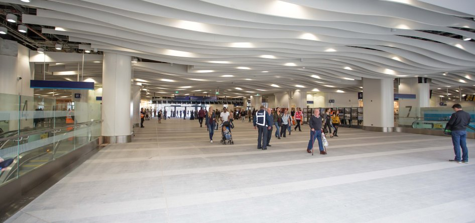 View back along central concourse to main entrance doors.