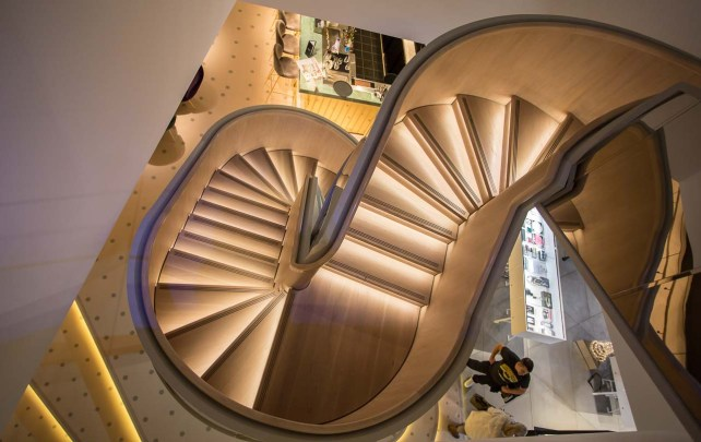 Staircase down from the second floor into the Harvey Nichols bar.