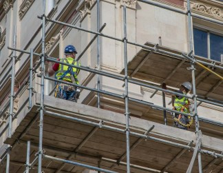 Contractors removing the scaffolding today...at last!