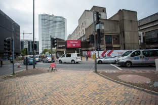 The city side entrance to Fletchers Walk reached by a traffic light controlled and supervised crossing. The under-library road on the right will close on 15 November.