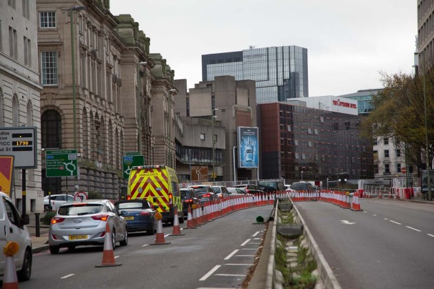 View west along Great Charles Street - the road now swings to the right.
