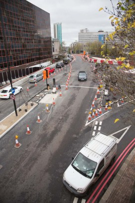 Junction of Broad Street on the right with the west side carriageways.