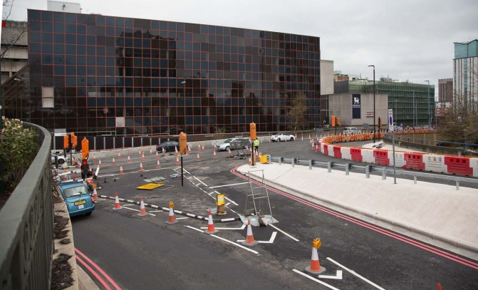 The junction again viewed from Broad street which is now only open to buses and taxis. These vehicles will eventually be able to turn right (as well as left) here into Broad Street.