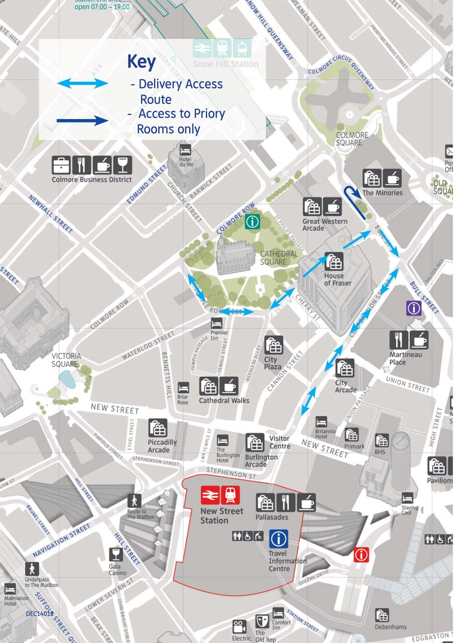 Delivery and Vehicle Access Route map from 5 Novemmber 2015