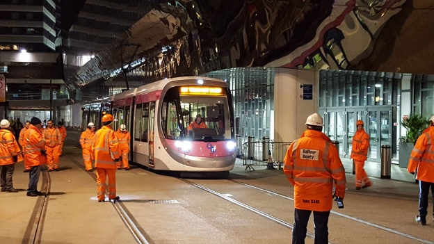 First Tram test Arriving at Grand Central