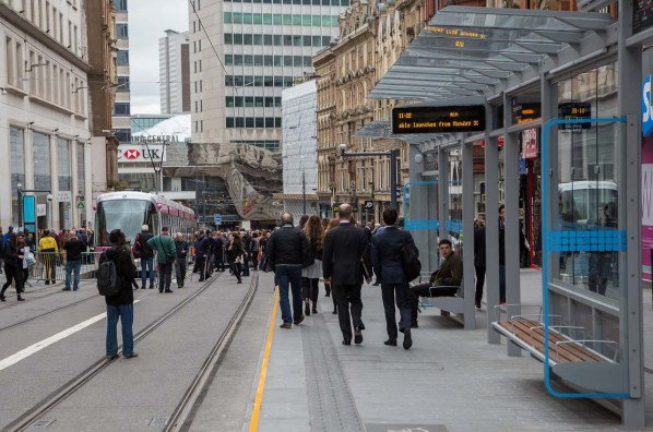 The crowd awaiting Ozzy's arival in Corporation Street shows the new tram features are completed.