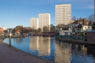 A wider view of Cambrian Wharf with the Birmingham & Fazely canal visible on the left